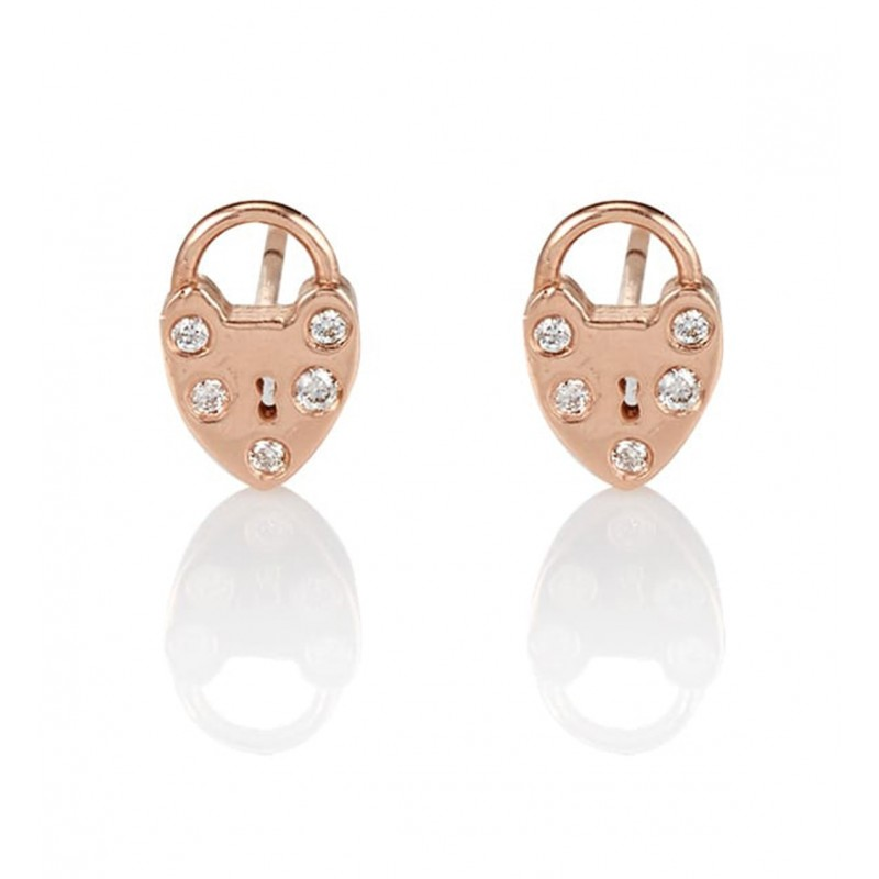 Heart Padlock Diamond Earrings