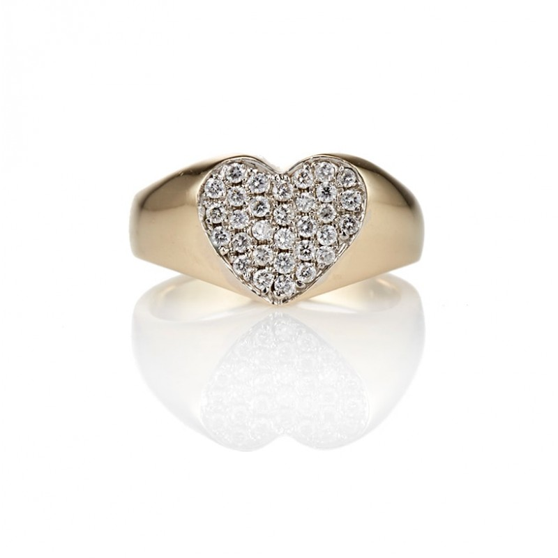 Diamond Encrusted Heart Signet Ring