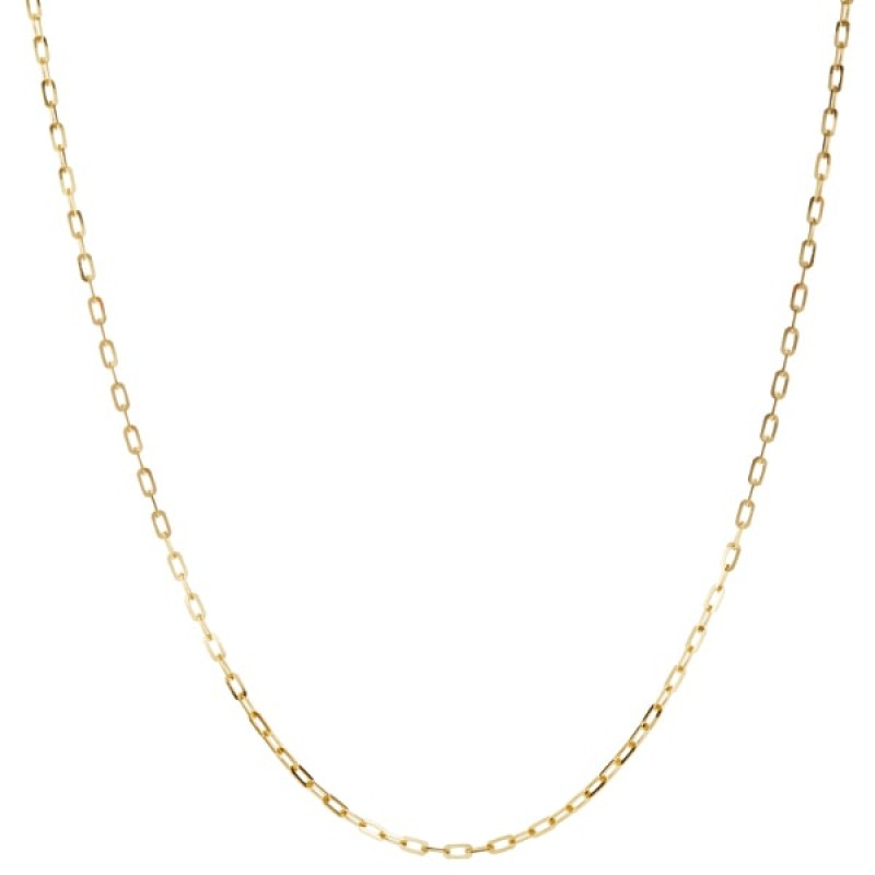 Gold Elongated Rectangular Link Necklace