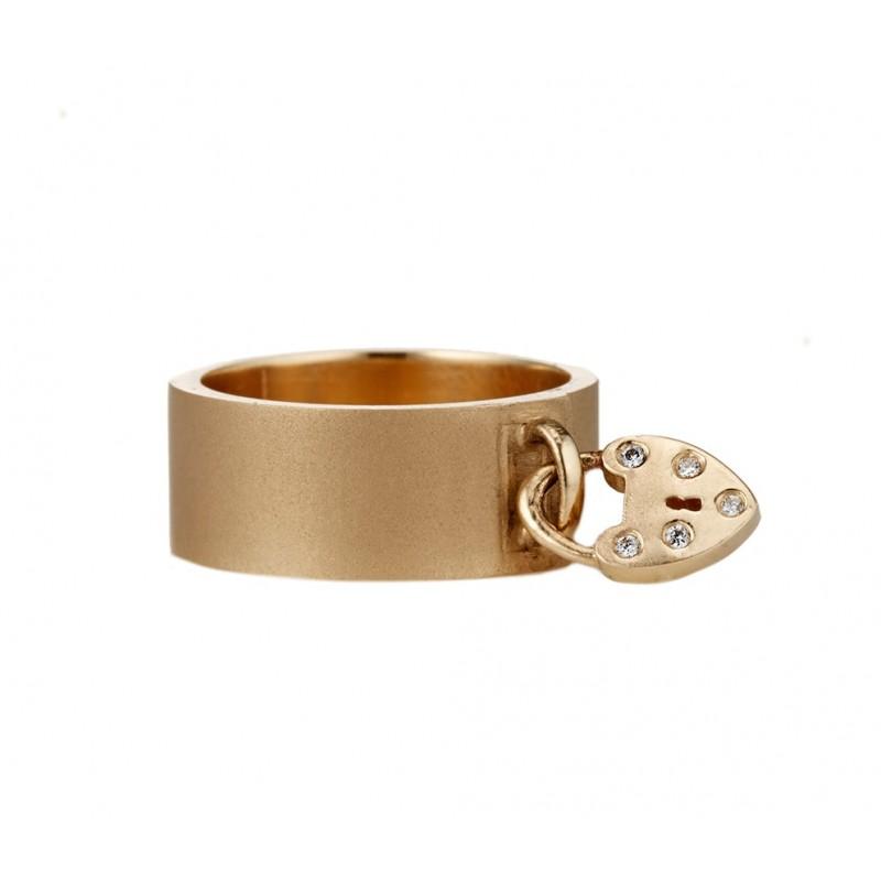 Heart Padlock Charm Ring