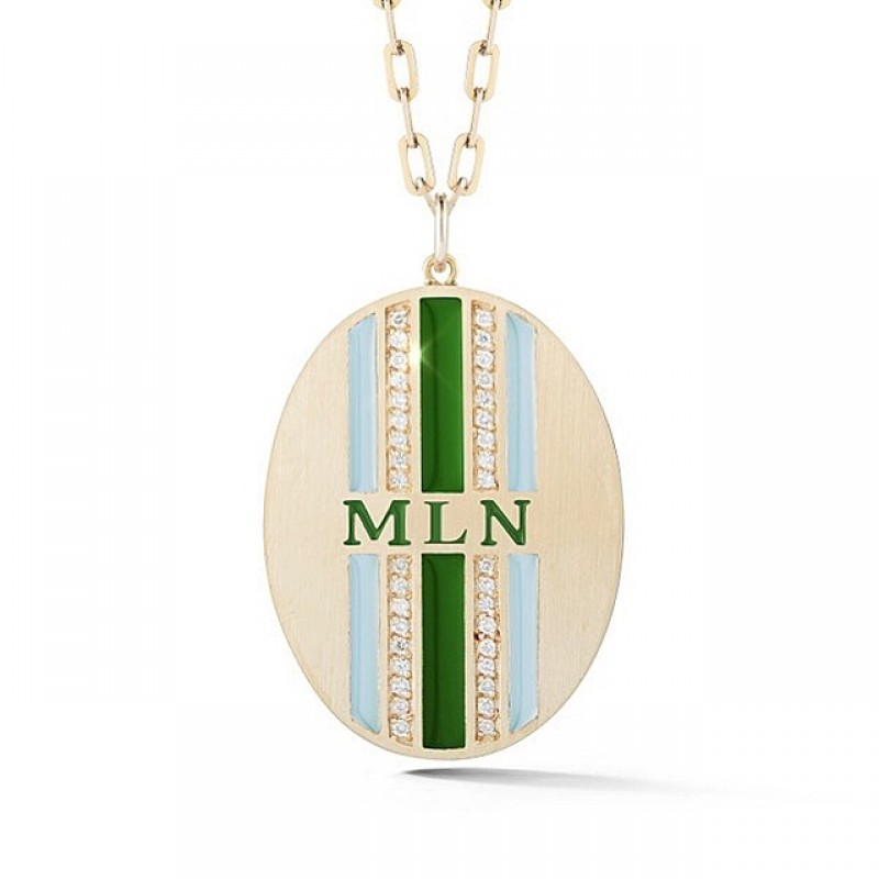 Double Diamond & Enamel Striped Personalized Medallion