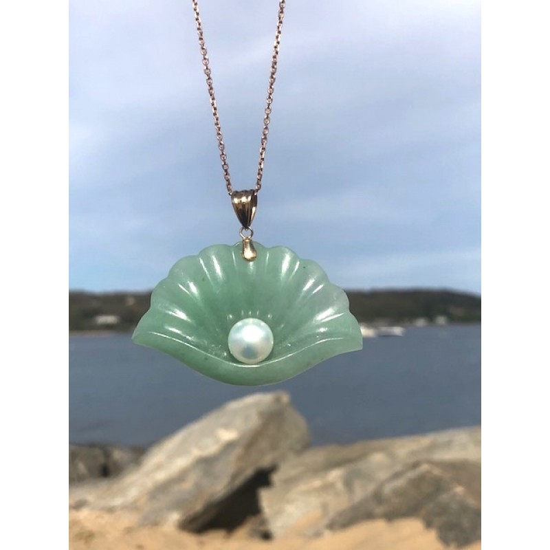 Estate Jade and Pearl Statement Shell Charm