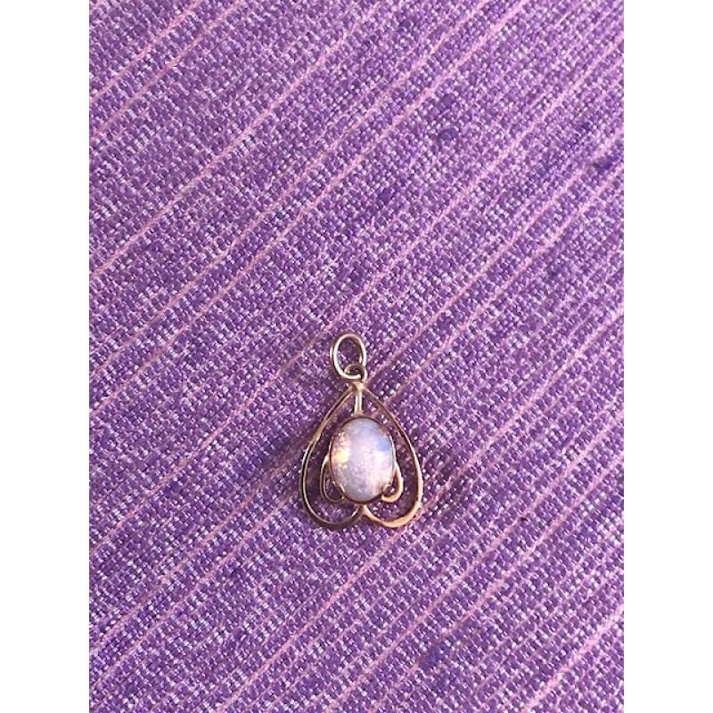Estate Opal Heart Charm