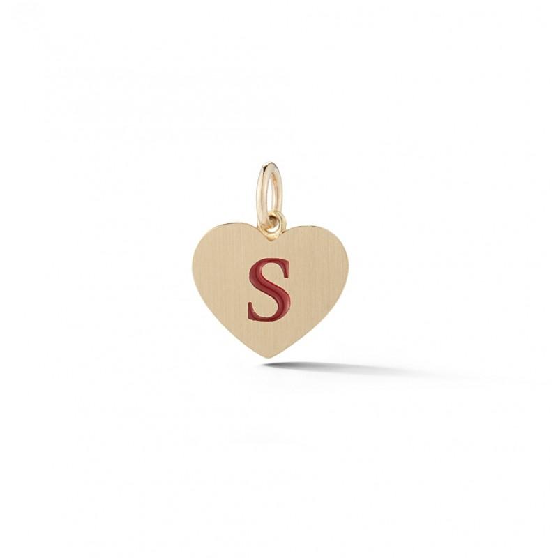 Petite Enamel Initial Heart Charm