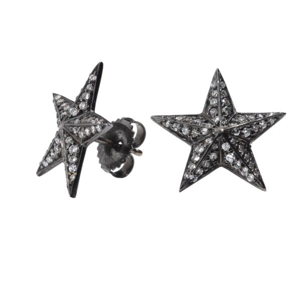 Diamond Star Studs in Black Rhodium