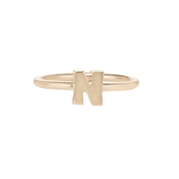 Gold Initial Stacking Ring