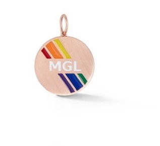 Rainbow Monogram Stripe Enamel Medallion