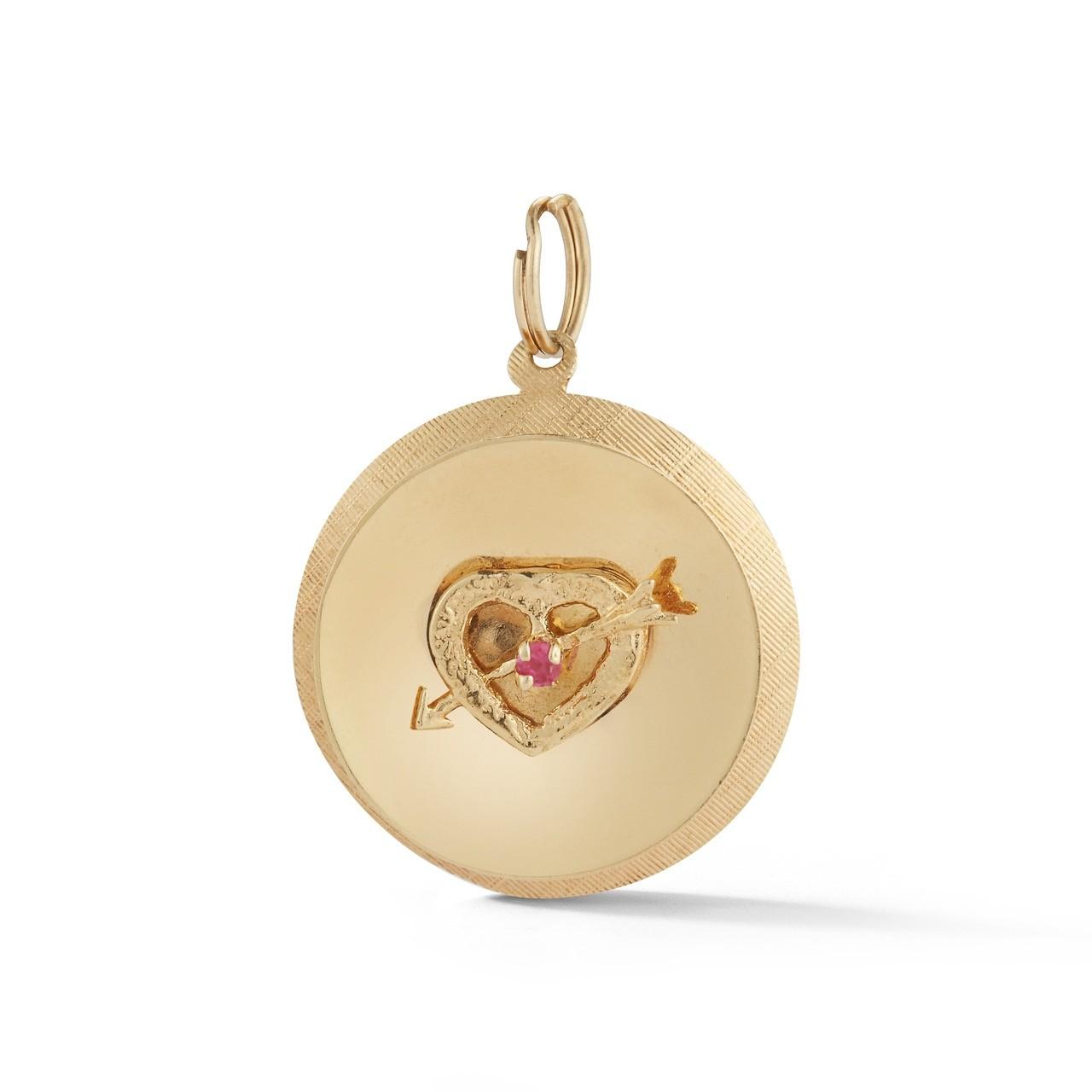 Estate Sapphire Heart Disc Charm