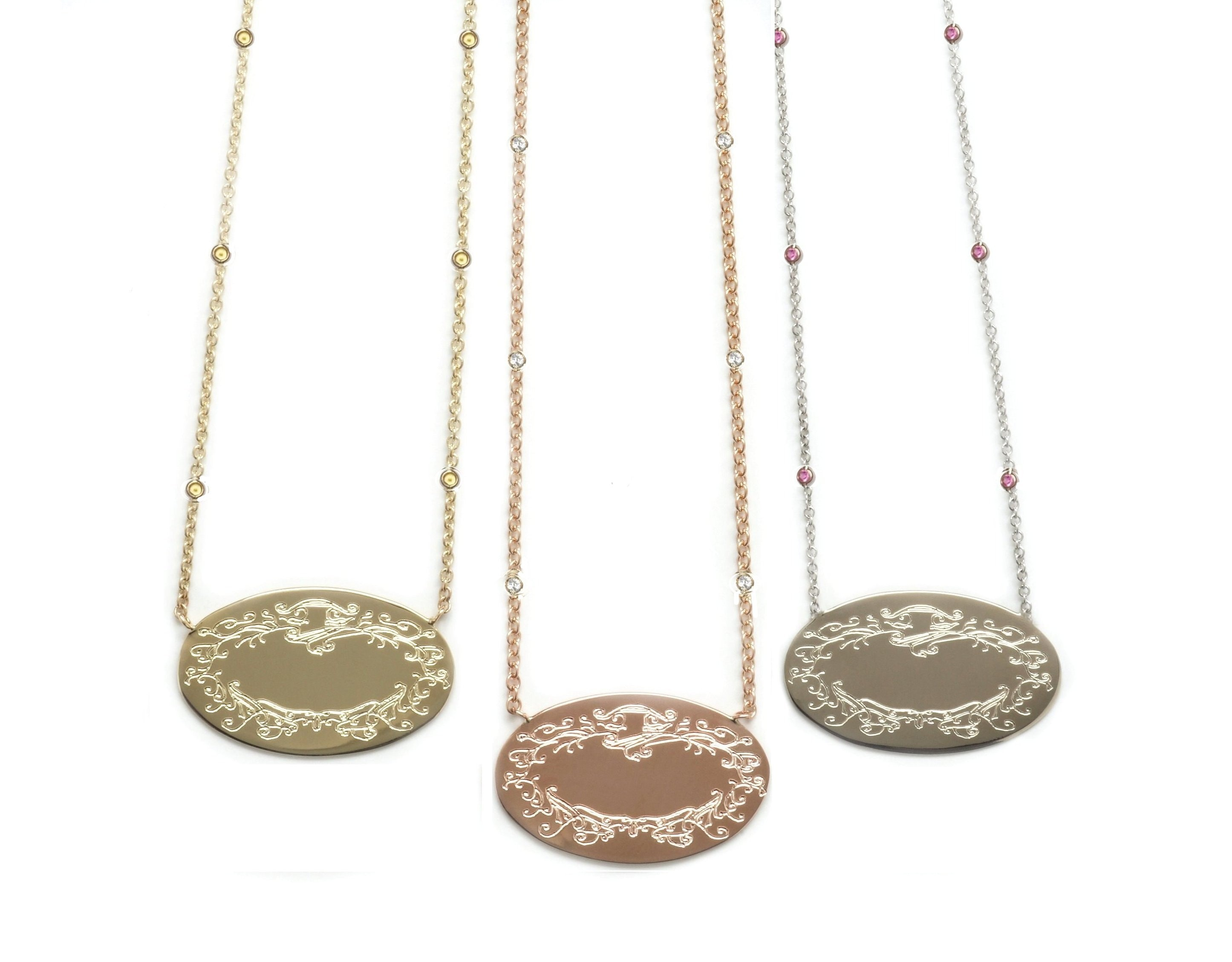 Small Signature Pendants on Precious Stone Chains