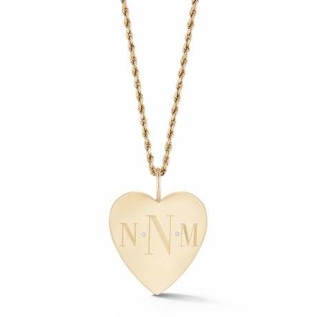 Gold and Diamond Monogram Heart on Rope Chain