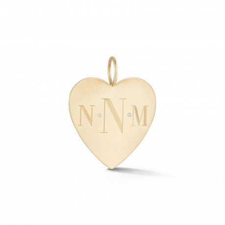 Monogram Diamond Heart Charm