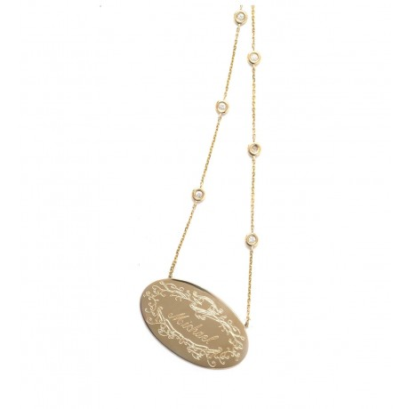 Large Gold Signature Pendants on Precious Stone Chains