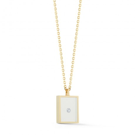 Floating Diamond Box Necklace