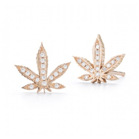 Diamond Cannabis Leaf Studs
