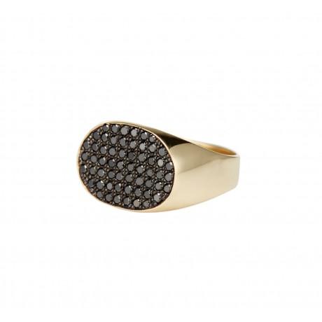 Statement Diamond Encrusted Signet Ring