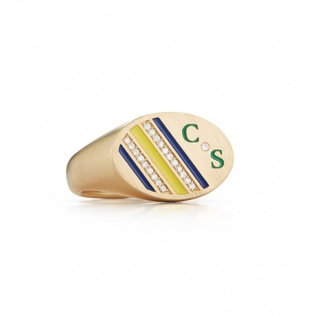 Enamel and Diamond Stripe Signet Ring
