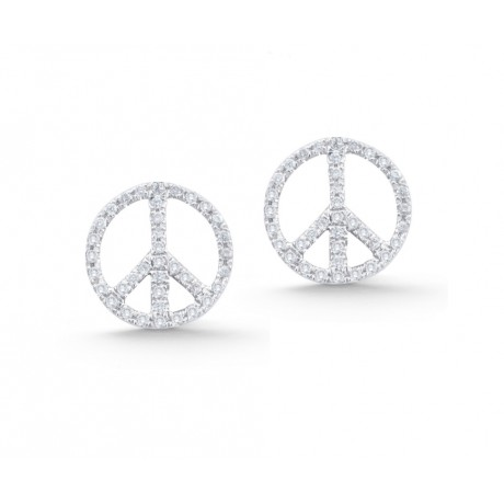 Diamond Peace Sign Studs