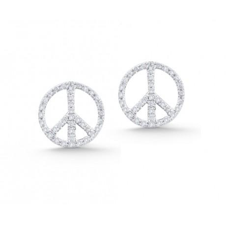 Diamond Peace Sign Studs