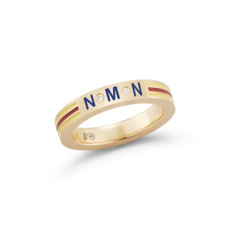 Personalized Enamel Striped Band Ring