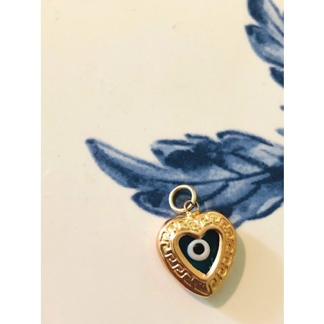 Vintage Double Sided Evil Eye Heart Charm