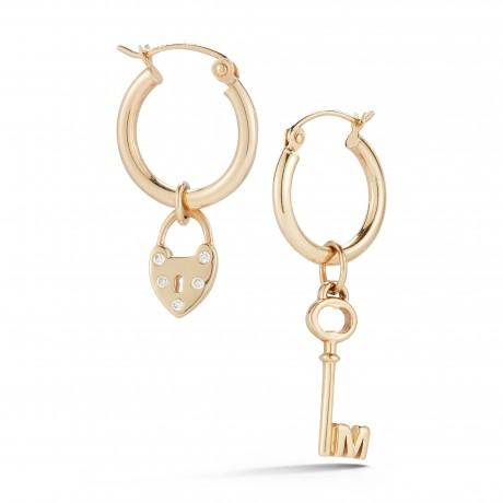 Heart & Key Charm Earrings