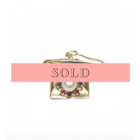 Estate Sapphire and Pearl Large Telephone Charm