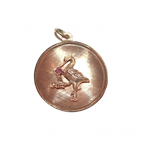 Estate Stork Disc Charm